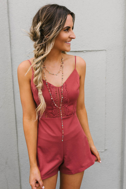 Heart to Heart Lace Detailed Romper - Brick - FINAL SALE