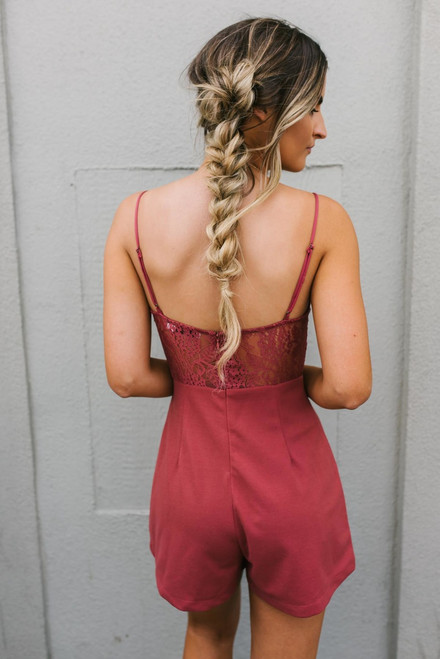 Heart to Heart Lace Detailed Romper - Brick