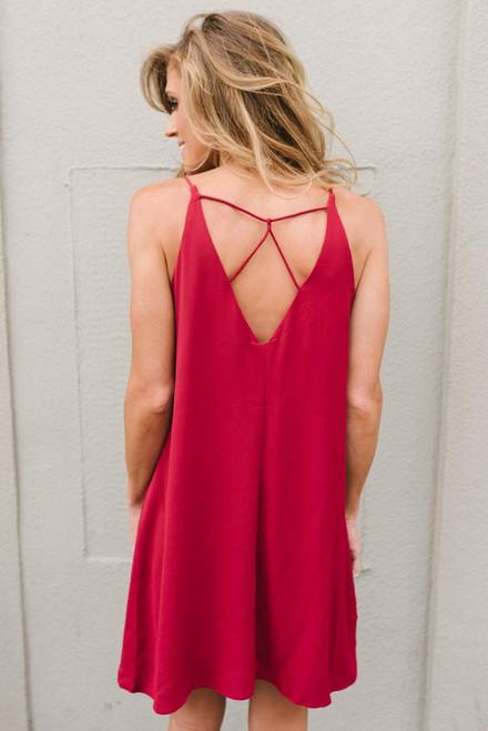 Final Rose Strappy Back Dress - Burgundy