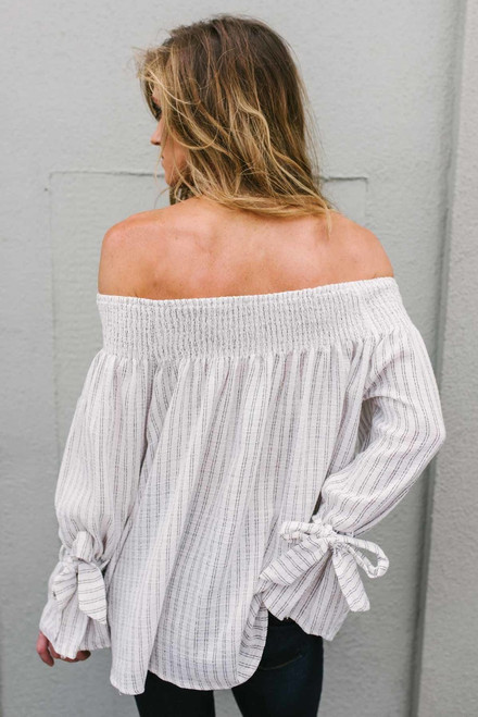 Off the Shoulder Striped Top - Off White/Brown