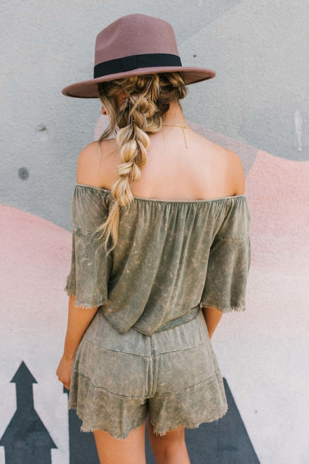 Wanderlust Off the Shoulder Top - Olive  - FINAL SALE
