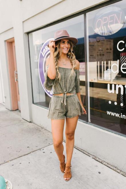 Wanderlust Vintage Wash Shorts - Olive  - FINAL SALE