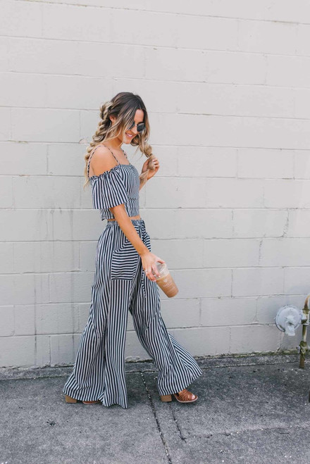 Sail Away Cold Shoulder Striped Top - Navy/White