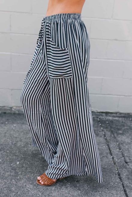 Sail Away Striped Pants - Navy/White