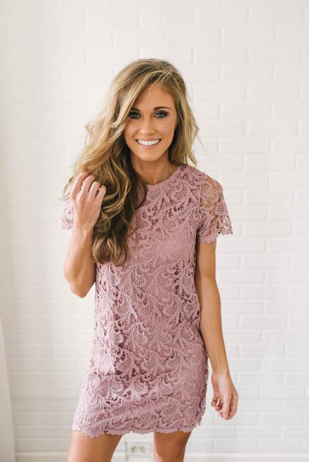 Short Sleeve Crochet Shift Dress - Dusty Rose