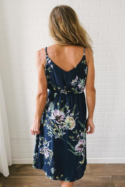 Button Down Floral Midi Dress - Navy