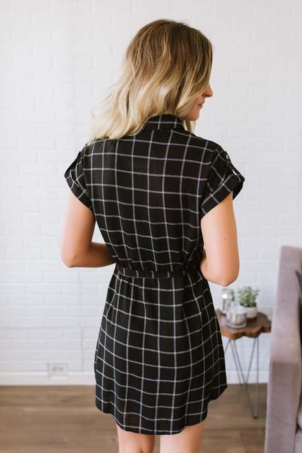 Perfectly Plaid Pocket Dress - Black/White