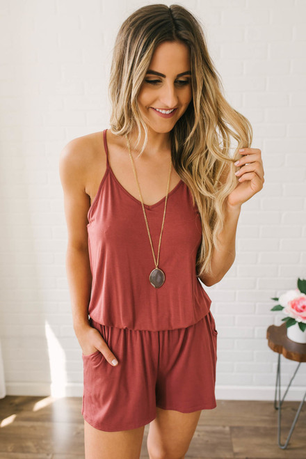 Girl About Town Racerback Romper - Brick