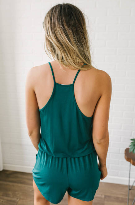 Girl About Town Racerback Romper - Teal