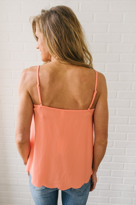 Making Waves Scalloped Tank - Coral  - FINAL SALE