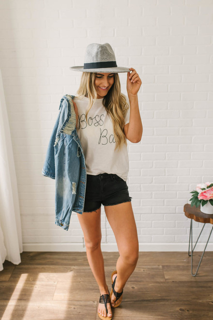 Boss Babe Embroidered Tee - Off White - FINAL SALE