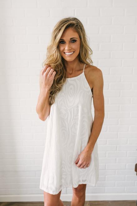 Rose Bud Halter Dress - Off White