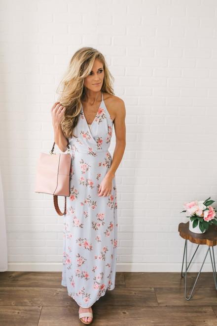 Floral Print Surplice Maxi Dress - Light Blue Multi