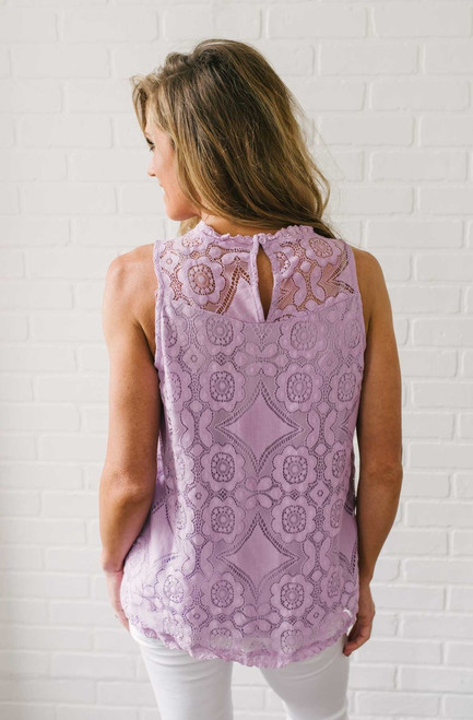 Piper Sleeveless Lace Blouse - Lavender