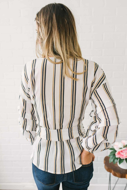 Striped Pintucked Wrap Top - Off White Multi