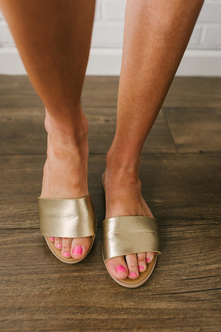 Saltwater Summer Slide Sandals - Gold - FINAL SALE