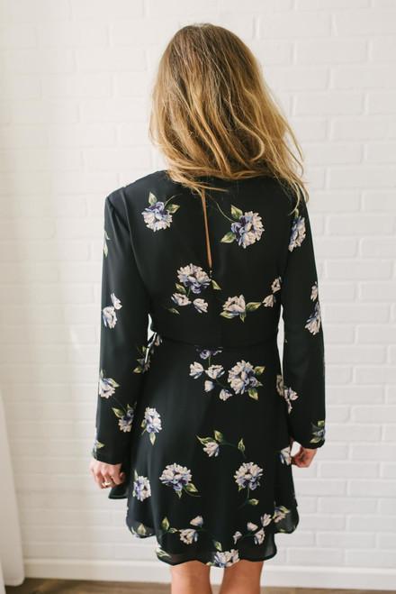 Posey Floral Print Wrap Dress - Black Multi  - FINAL SALE
