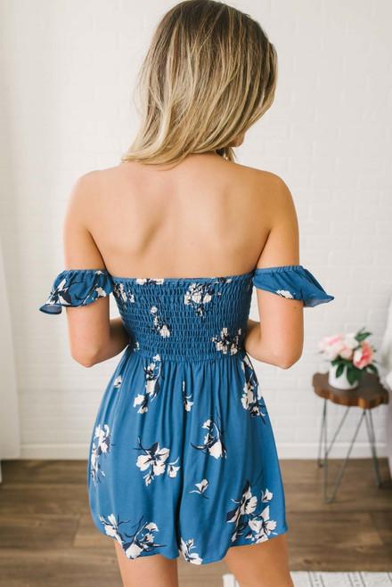 Off the Shoulder Floral Print Romper - Blue