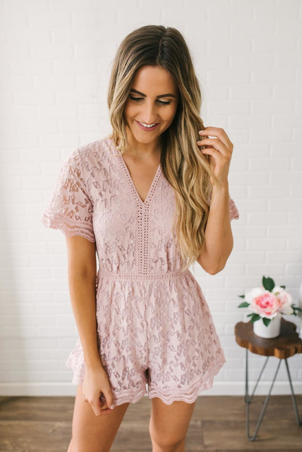 Star Gazing Lace Romper - Blush - FINAL SALE