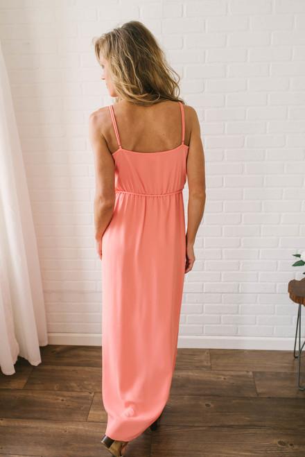 Everly Ruffle Wrap Maxi Dress - Neon Orange