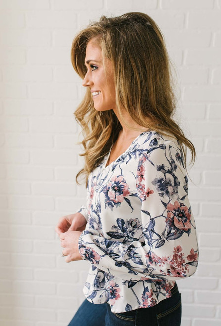 Button Down Floral Peplum Blouse - Ivory Multi