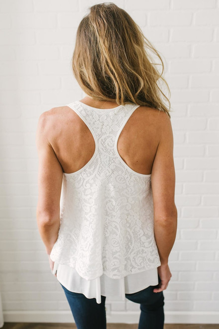 Layered Lace Racerback Tank - Off White