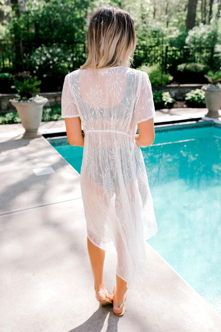 Embroidered Duster Cover Up - Off White - FINAL SALE