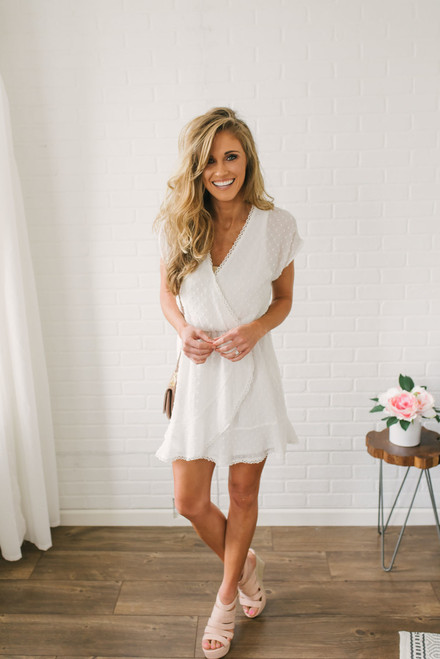 Short Sleeve Dotted Chiffon Dress - Off White  - FINAL SALE