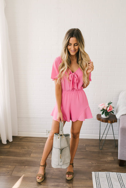 Forever and Always Romper - Hot Pink