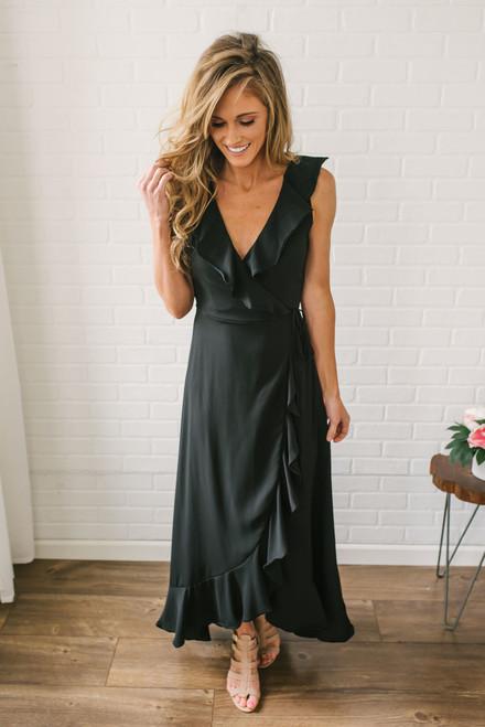 Ruffle High Low Wrap Dress - Black