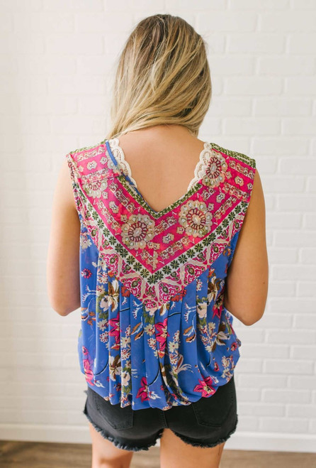 Free People Havana Muscle Tank - Blue Combo