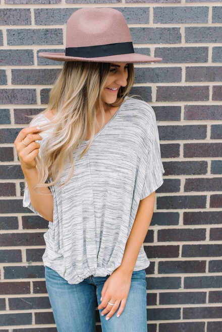 V-Neck Marbled Twisted Hem Tee - Grey