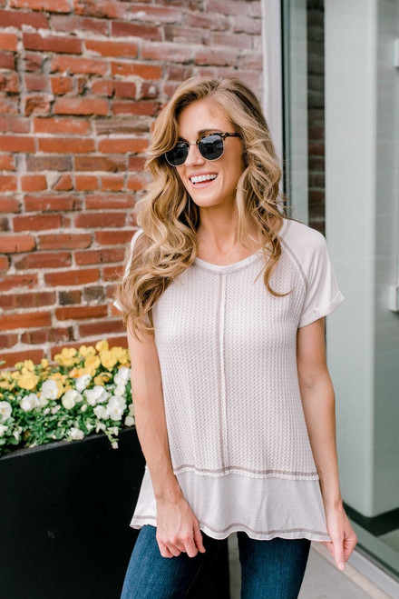 Contrast Stitch High Low Thermal Top - Light Taupe