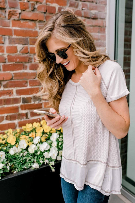 Contrast Stitch High Low Thermal Top - Light Taupe  - FINAL SALE