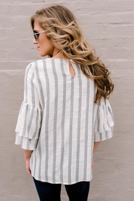 Layered Peplum Sleeve Striped Top - Grey/Ivory
