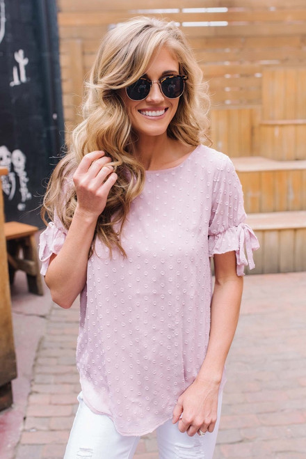 Anastasia Tie Sleeve Dotted Top - Light Pink
