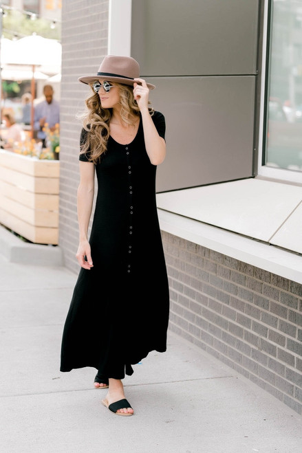 Button Down Ribbed Knit Maxi - Black
