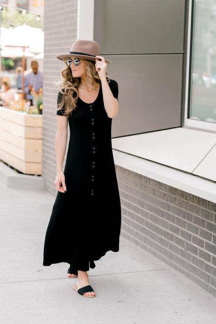 Button Down Ribbed Knit Maxi - Black - FINAL SALE