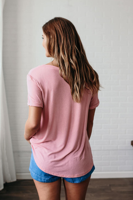 Ocean Spray Pocket Tee - Dusty Pink - FINAL SALE