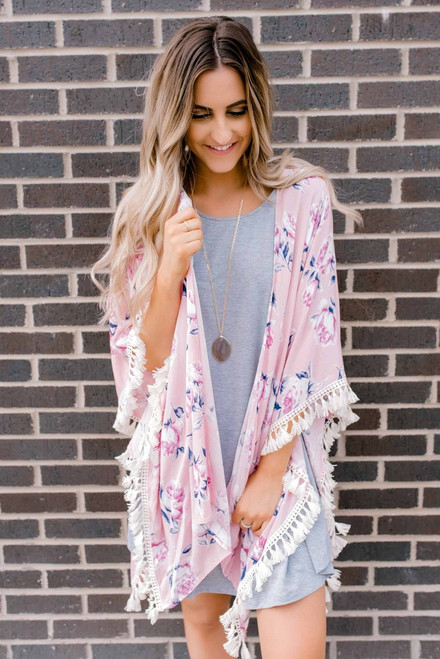 Floral Oasis Tassel Kimono - Pink Multi