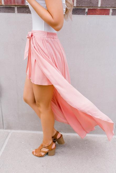 Jack by BB Dakota Beatrice  Wrap Skirt - Coral Pink