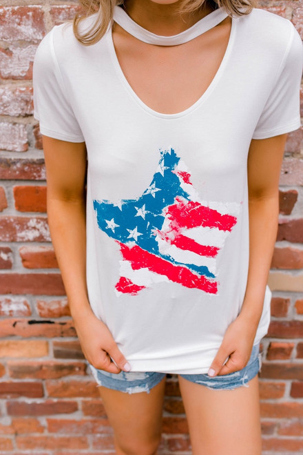 Star Spangled Graphic Choker Tee - Ivory - FINAL SALE