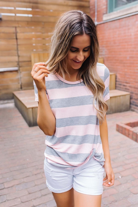 Savannah Striped Twisted Knot Tee - Pink/Grey
