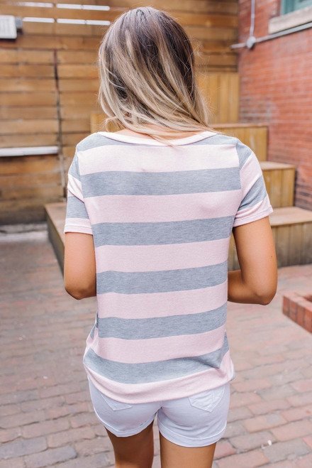 Savannah Striped Twisted Knot Tee - Pink/Grey - FINAL SALE