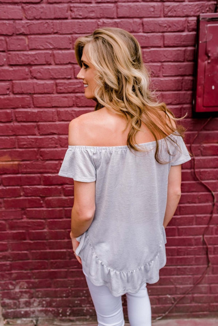 Off the Shoulder Button Down Top - Grey
