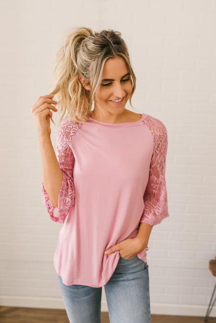 Southern Breeze Lace Sleeve Raglan Top - Dusty Pink