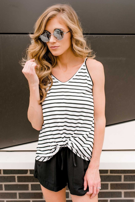 Striped Twisted Knot Tank - Off White/Black