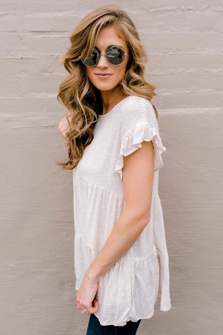 Short Sleeve Tiered Dotted Tunic - Stone
