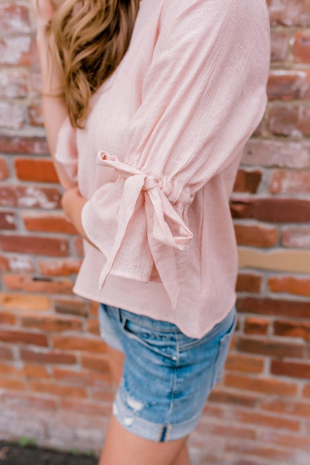 Camilla 3/4 Tie Sleeve Top - Pale Pink