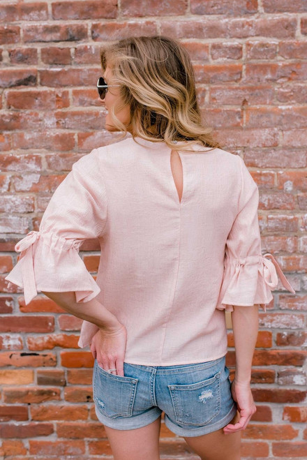 Camilla 3/4 Tie Sleeve Top - Pale Pink